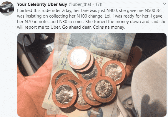 Nigerians attack Uber driver who took to Twitter to shame a lady for asking for her N100 balance