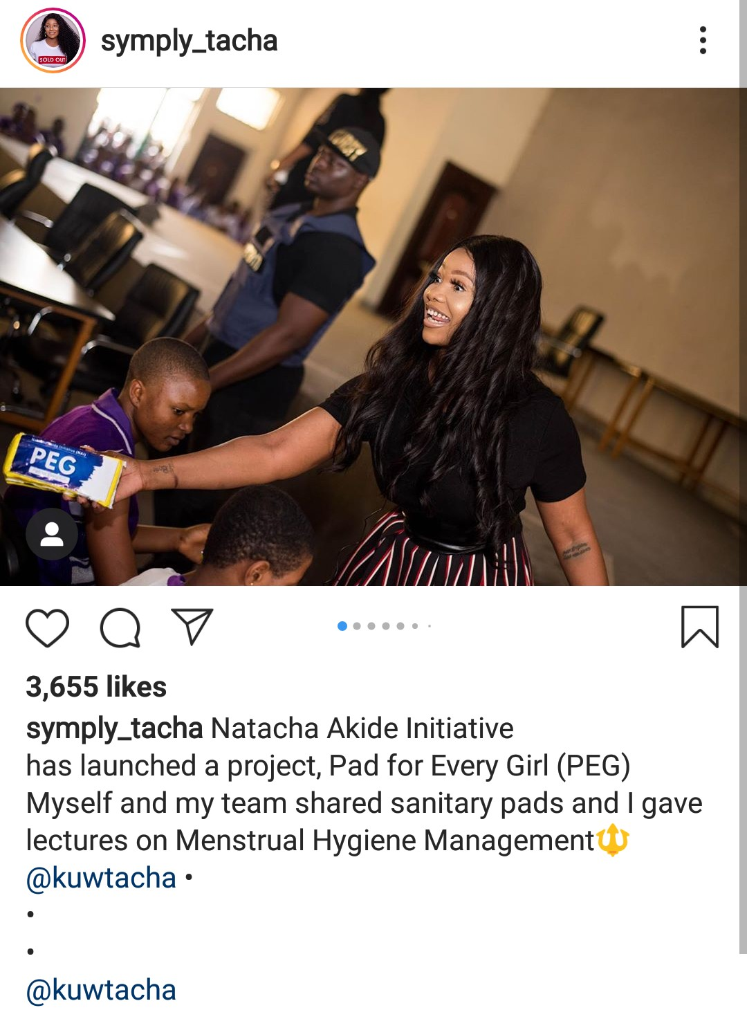 Tacha launches 'Pad For Every Girl' project, donates pads to female students (Photos)