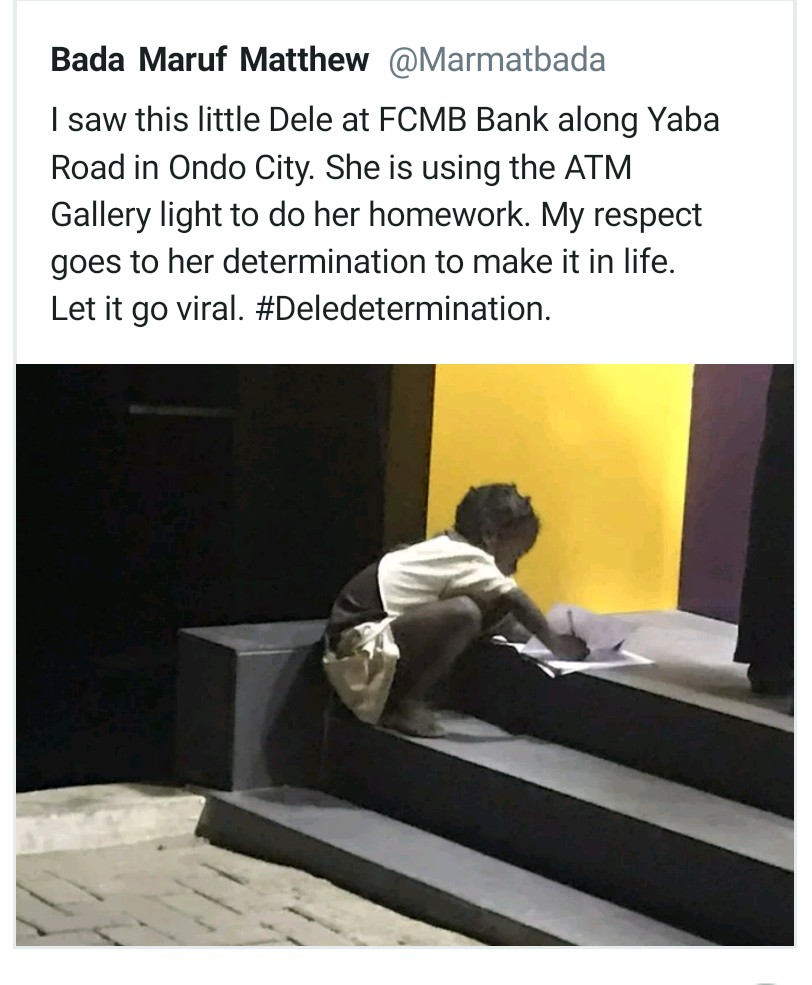 FCMB Launches Search For 'Little Dele', the Girl Who Used ATM Light To Write Her Assignment
