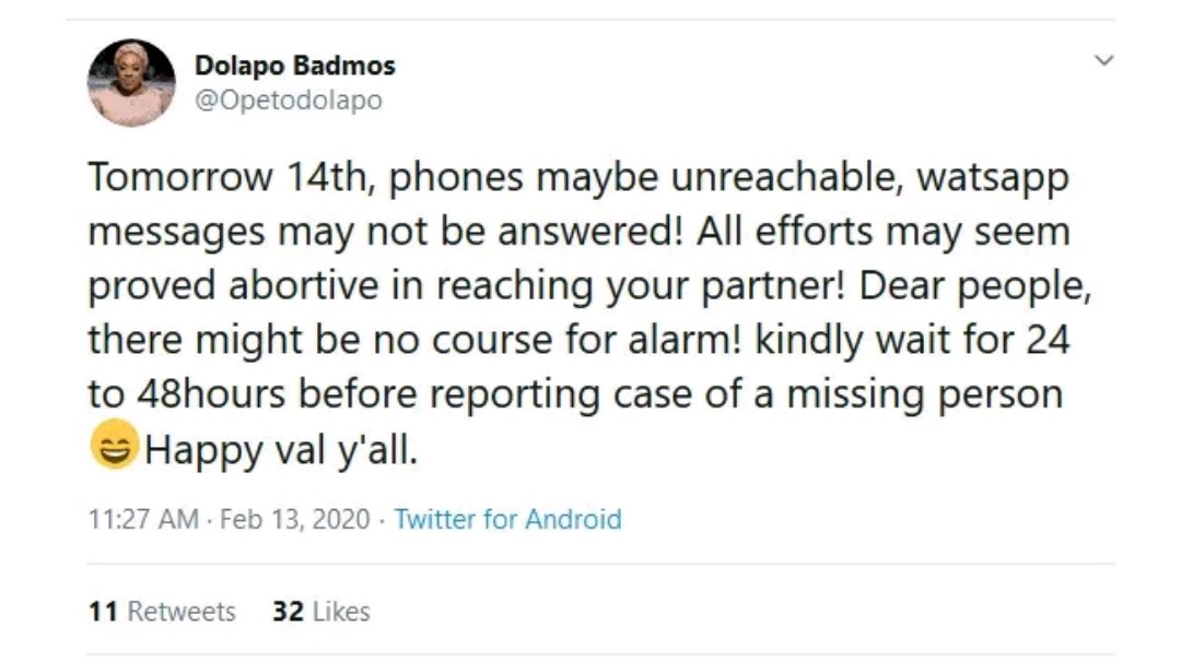 """Kindly wait for 48 hours before reporting the case of a missing person""- Police Officer, Dolapo Badmos"