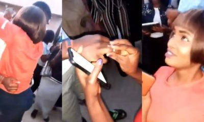 Nigerian lady proposes to her boyfriend in school and he accepts (video)