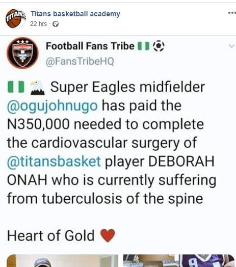 Super Eagles player John Ogu pays $1000 for treatment of Nigerian basketball player Debora Onah