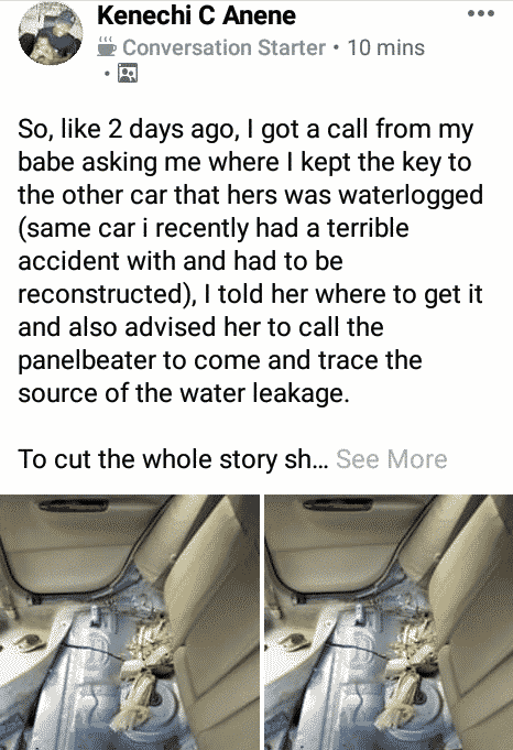 Nigerian man discovers 'fetish' items under his car two months after he was involved in accident (photos)