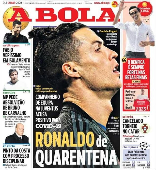 Cristiano Ronaldo reportedly in quarantine in Madeira after Daniele Rugani tested positive for coronavirus