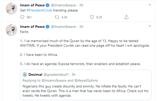 "Popular Islamic cleric, ""Imam of Peace"" continues to drag President Buhari"