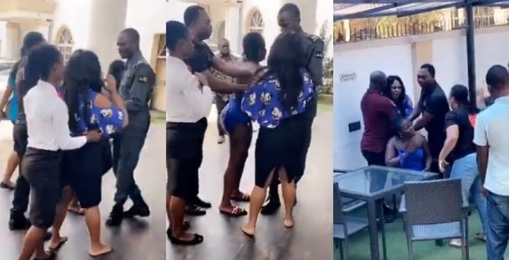 Image result for Angry wife confronts her husband and his side chic at a hotel in benin (VİDEO)