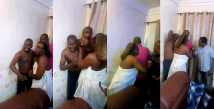 Married woman caught in bed with a man she brought into her husband's house (Video)