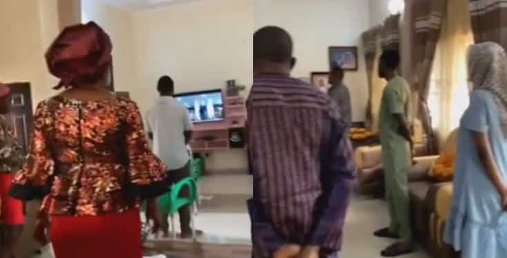 Nigerian mother makes her entire family dress up for 'church service' in their home (video)