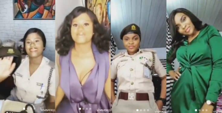 Female officers of the Nigeria Immigration Service queried for partaking in #Bopdaddychallenge (Video)