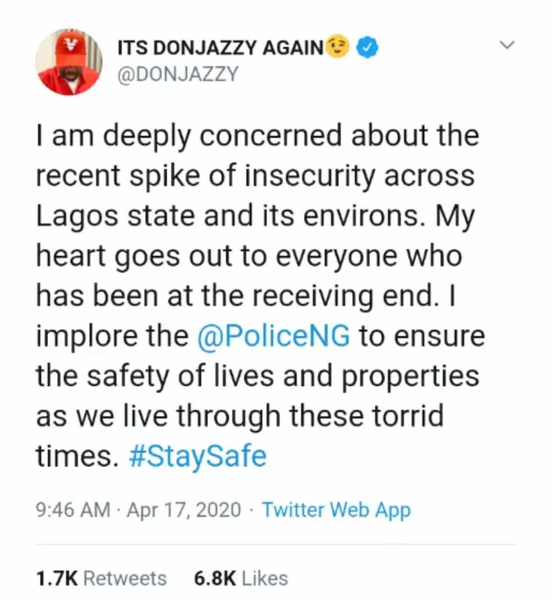 COVID-19 Lockdown: Don Jazzy begs Nigerian police to safeguard the lives and properties of Lagosians