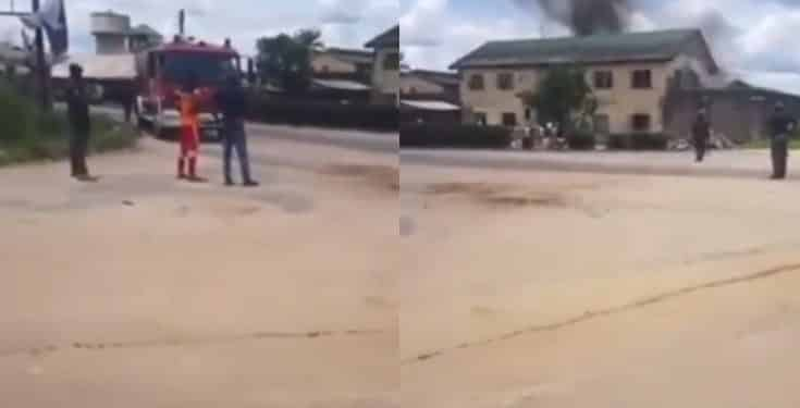 Inmates of Sapele prison set the facility on fire (video)