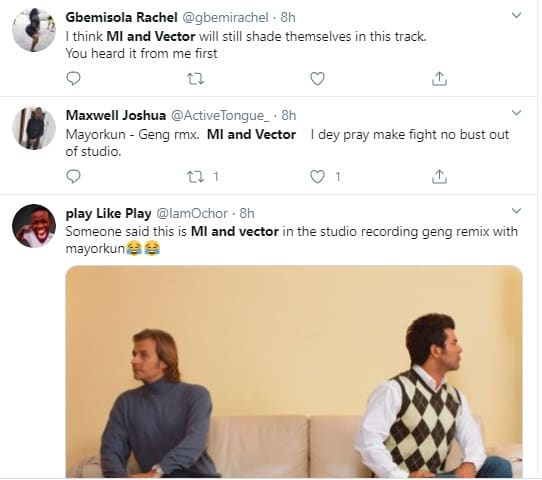 Rap rivals Vector and M.I featured on Mayorkun's song, fans react on Twitter