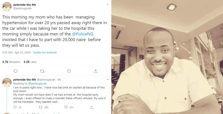 Man cries out after his mum dies in the car while police insists on N20k cash bribe in Rivers state