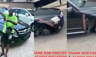 Davido's P.A, Aloma survives a motor accident in Lagos (video)