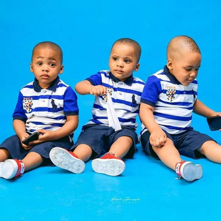 Femi Kayode's wife and triplet sons celebrate birthday
