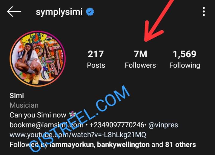 Screenshot of Simi's 7 million Instagram followers