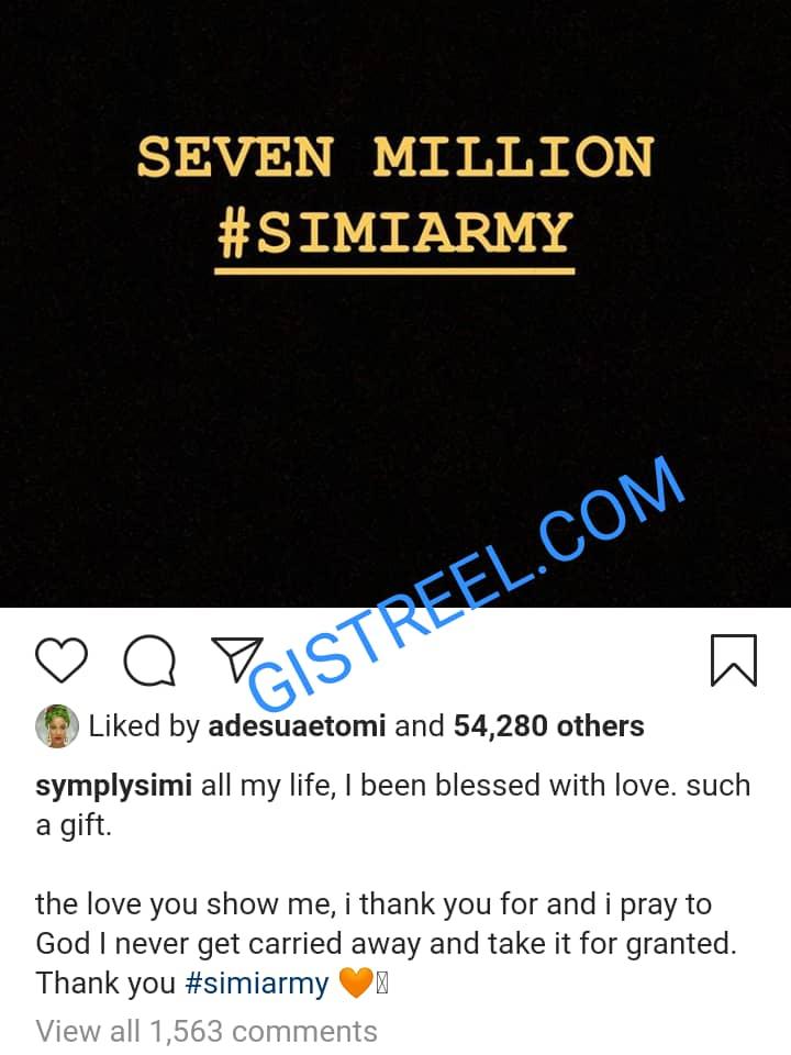 Simi appreciates her fans as she hits 7 million followers on Instagram