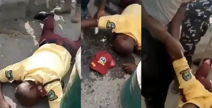 LASTMA Officer Beaten To Pulp By Police Officer (Video)