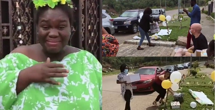 Nigerian Lady In Tears As Friends Surprise Her With A Drive-by Baby Shower (Video)