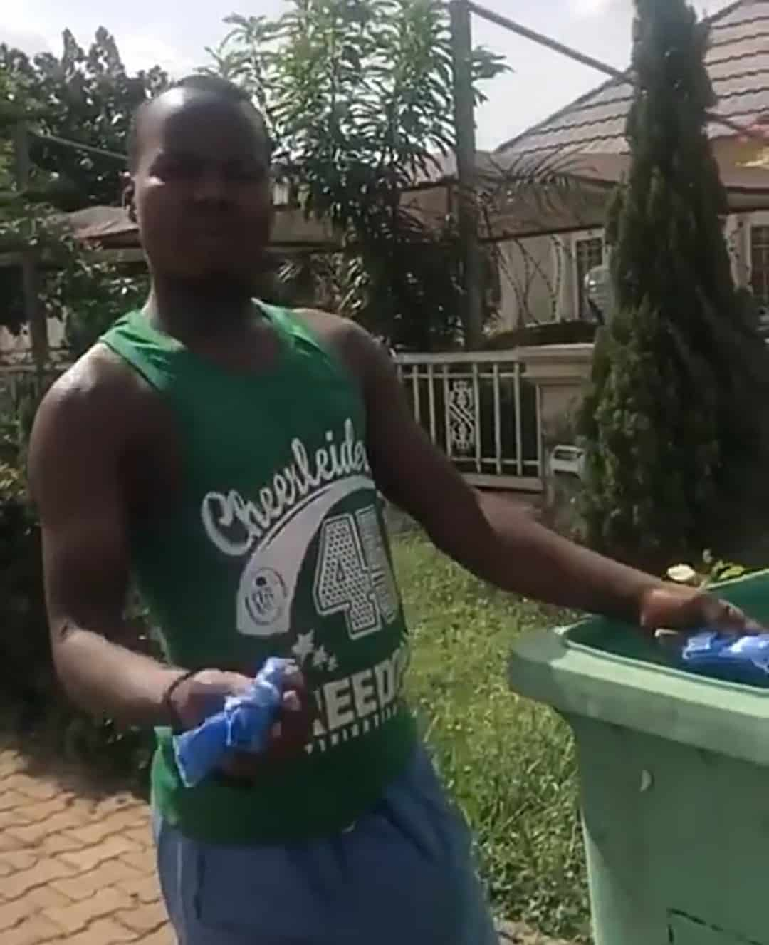 VIDEO: Lady confronts man collecting used sanitary pads from dustbin