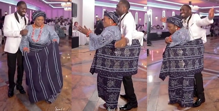Emotional moment a mother backed her grown up son during his wedding (Video)