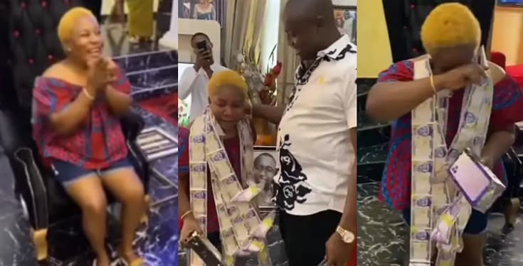 Lady in tears as hubby celebrates her birthday with iPhone, money in cake