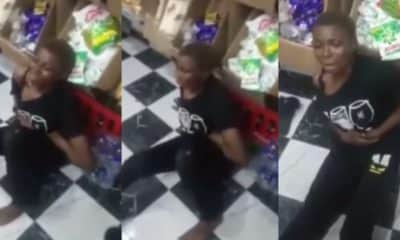 Lady allegedly caught stealing in a shop she previously stole from in Warri (video)