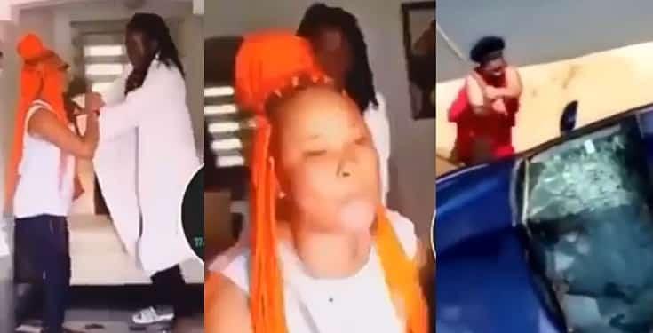 Lady breaks boyfriend's car windscreen for cheating on her (Video)