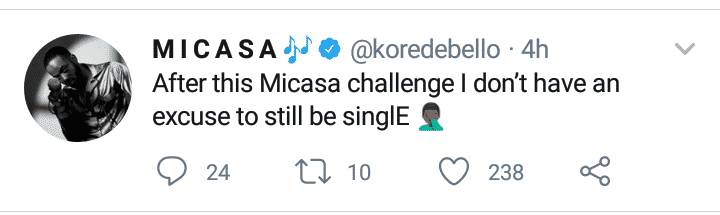 Korede Bello Says He Won't Remain Single After Micasa Challenge