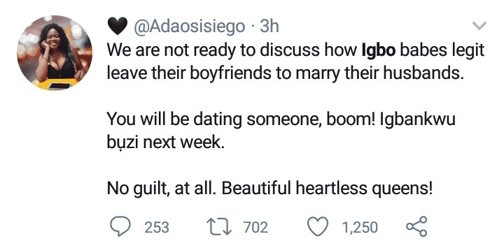 Lady blasts her fellow igbo ladies for leaving their boyfriends to marry who is ready