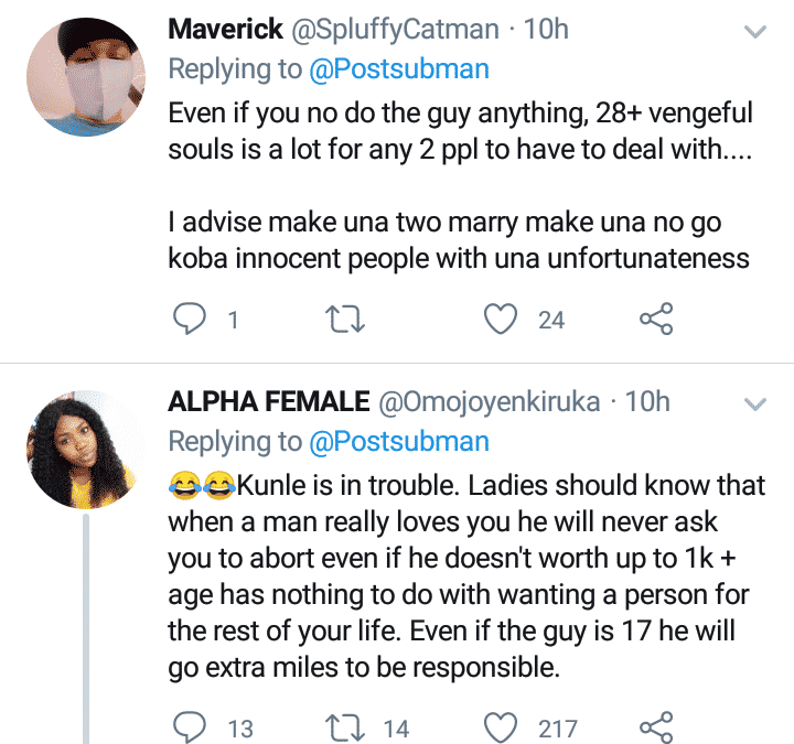 Nigerians react as lady swears at man who refused marrying her after 28 abortions