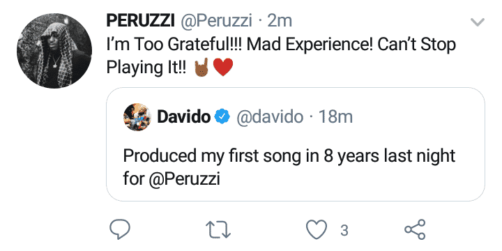 Davido turns producer on peruzzi's forthcoming song