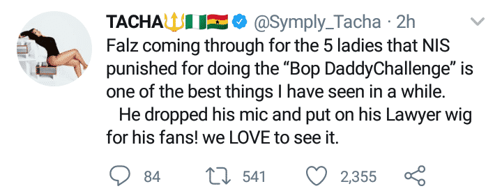 Tacha praises Falz for defending female officers who participated in #BopDaddyChallenge