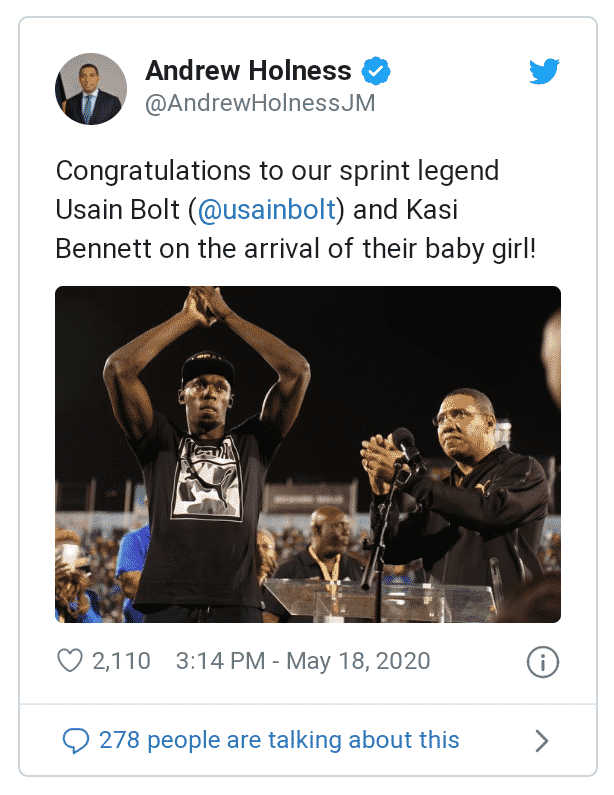 Jamaican Prime Minister congratulate Ussain Bolt on the birth of his newborn baby