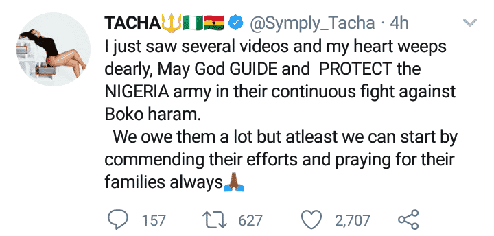 "Tacha prays for Nigerian soldiers fighting Boko Haram, Tacha prays for Nigerian soldiers fighting Boko Haram ""We owe them a lot"", Latest Nigeria News, Daily Devotionals & Celebrity Gossips - Chidispalace"