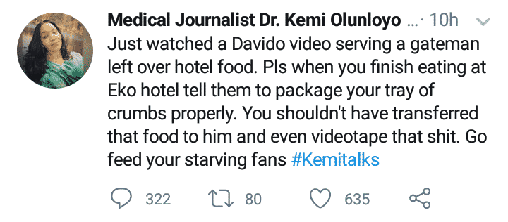 Kemi Olunloyo blasts Davido for feeding gateman with leftover food