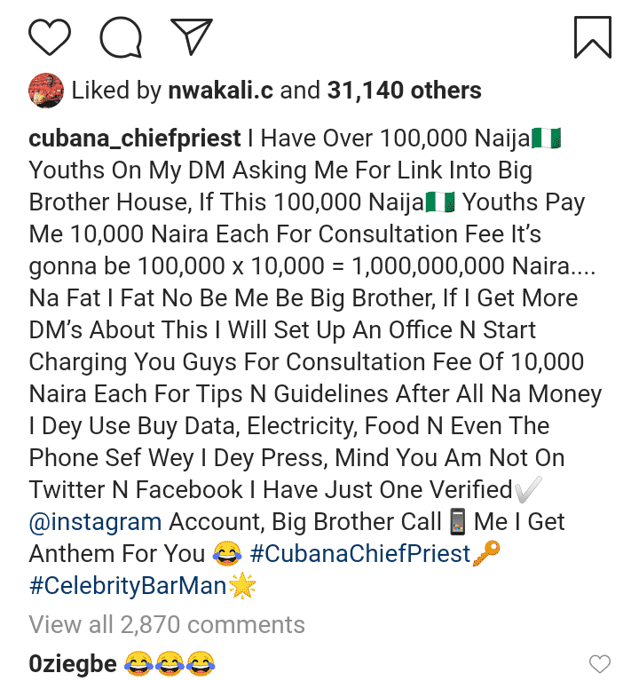 Cubana Chief Priest reacts after fans begged him for #BBNaija linkup