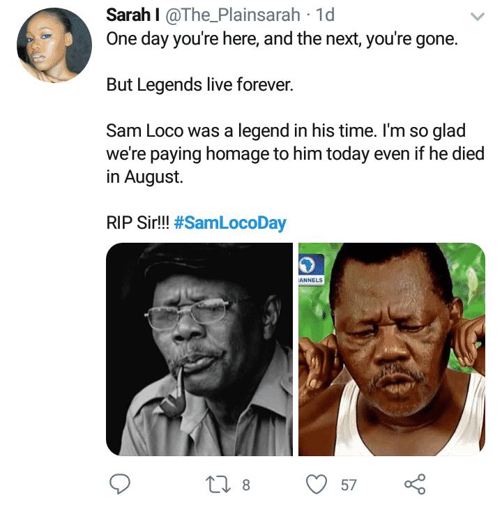 Nigerians celebrate Sam Loco on Twitter