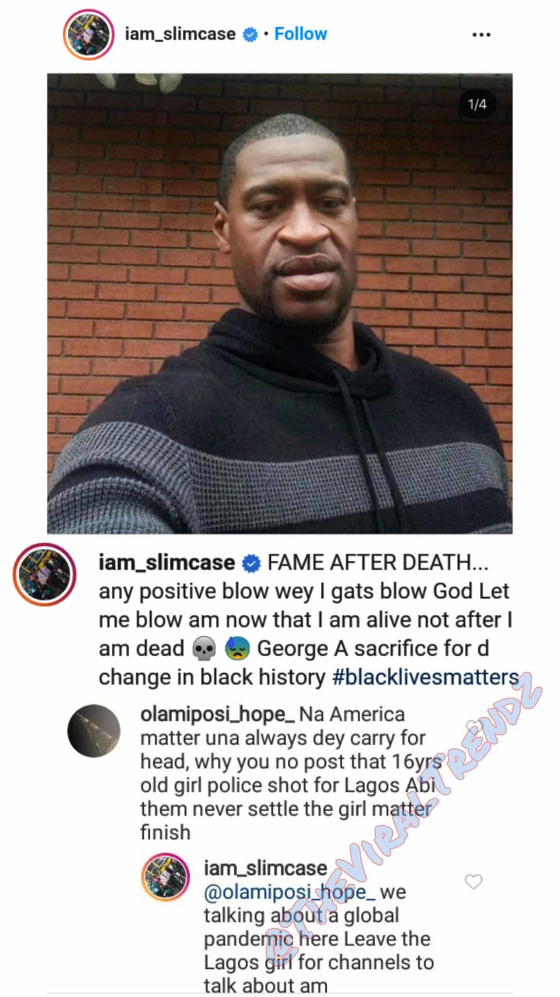 Nigerians attack Slimcase over comments on George Floyd and Tina, Nigerians attack Slimcase over comments on George Floyd and Tina, Latest Nigeria News, Daily Devotionals & Celebrity Gossips - Chidispalace
