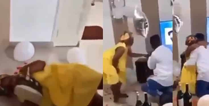 Excited lady rolls on the floor as she gets surprise proposal from boyfriend (Video)