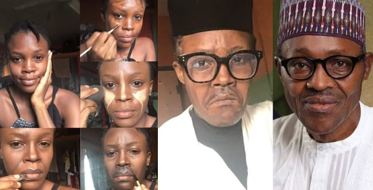 Talented makeup artist paints her face to look like Buhari