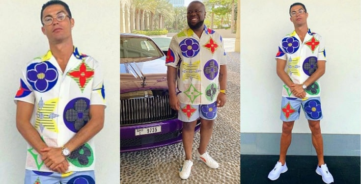 """Them don sell Hushpuppi cloth give you now now"" - Nigerians react as Ronaldo wears same outfit with Hushpuppi"