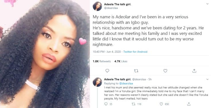 Lady narrates how her Igbo boyfriend's mother crashed their plan of getting married