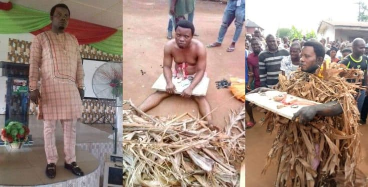 Pastor disgraced after allegedly being caught planting charm on his cousin's land (photos)