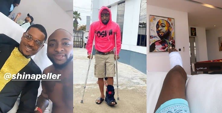 Hon. Shina Peller pays Davido a sympathy visit over his broken leg