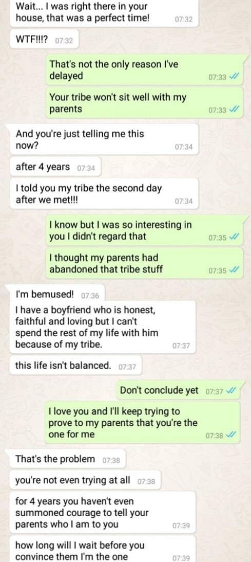 Man tells girlfriend his parents disapprove her tribe