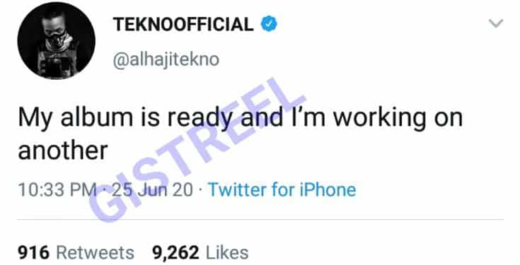 Tekno To Release 2 Albums
