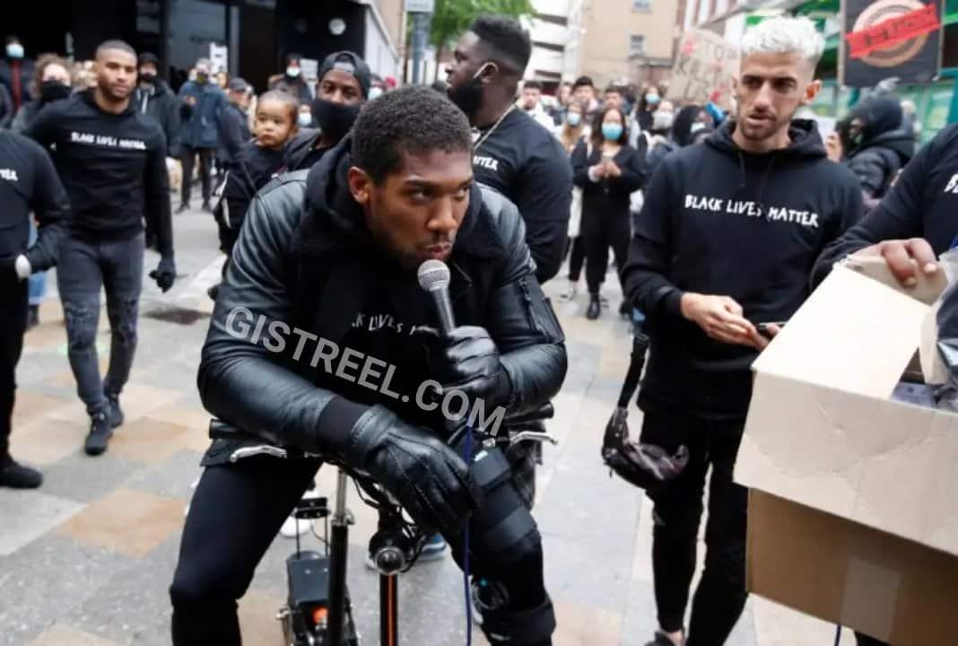 Anthony Joshua attends #BlackLivesMatter protest