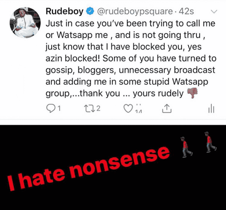 Rudeboy blocks several friends from calling him