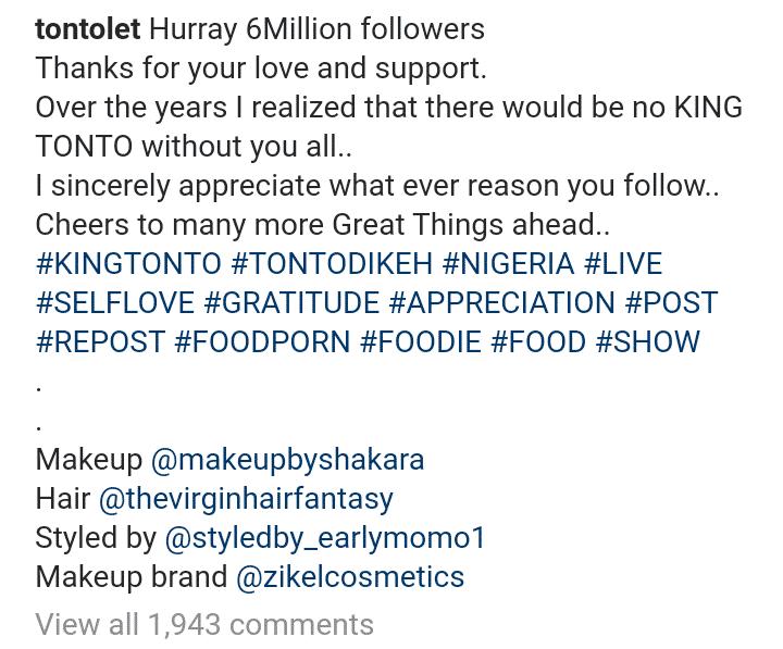 Tonto hits 6 million followers